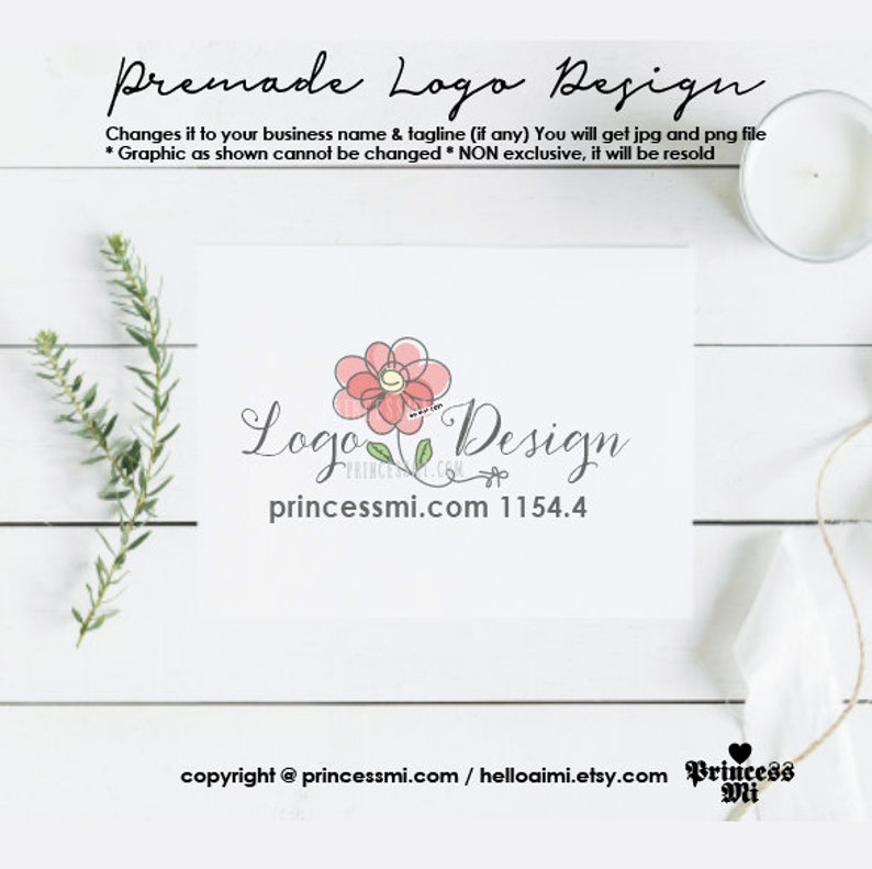 floral logo design kids business photography logo hand drawn image 0