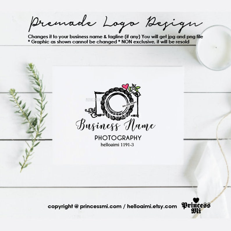 logo design photography camera for photographer watermark image 0