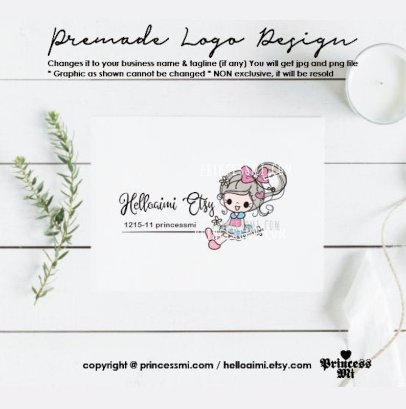 doll logo design girl  premade logo watermark template  kids image 0