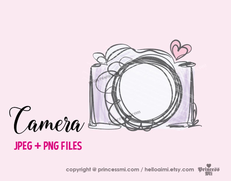 Camera Clipart Purple Color Photography Photographer Camera Artwork Cute Creative Whimsical Png File By Princessmi