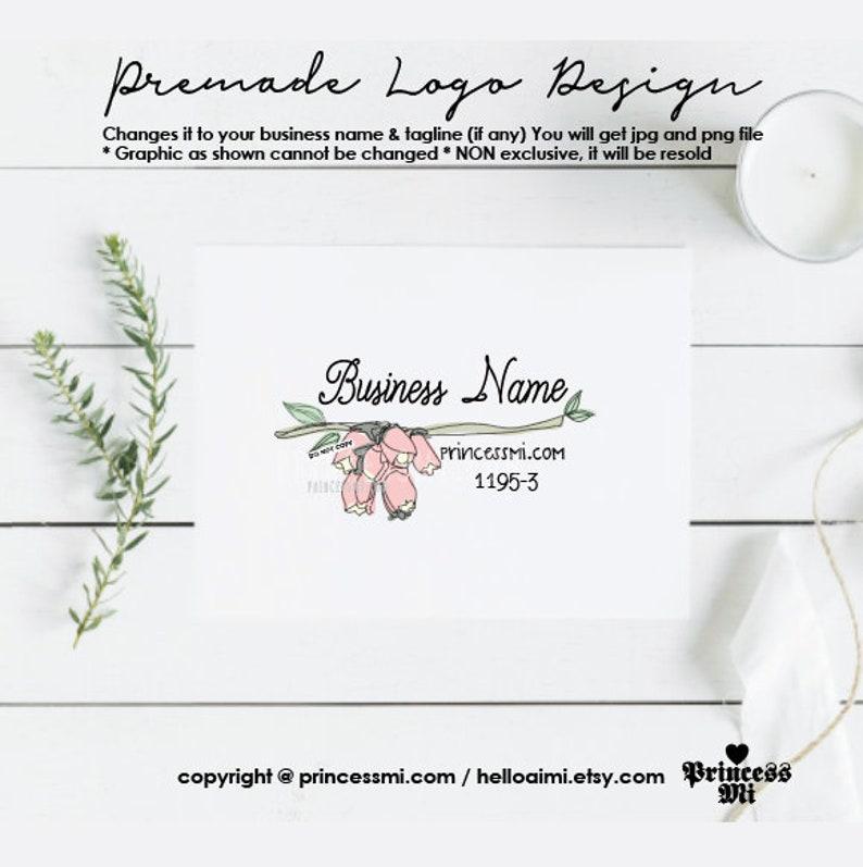 floral logo design flower with branch leaves boutique image 0
