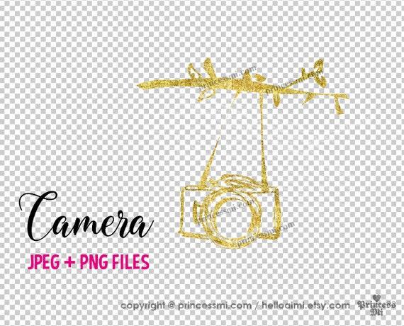 Gold Camera Clipart Elegant Photography Logo Photographer Etsy