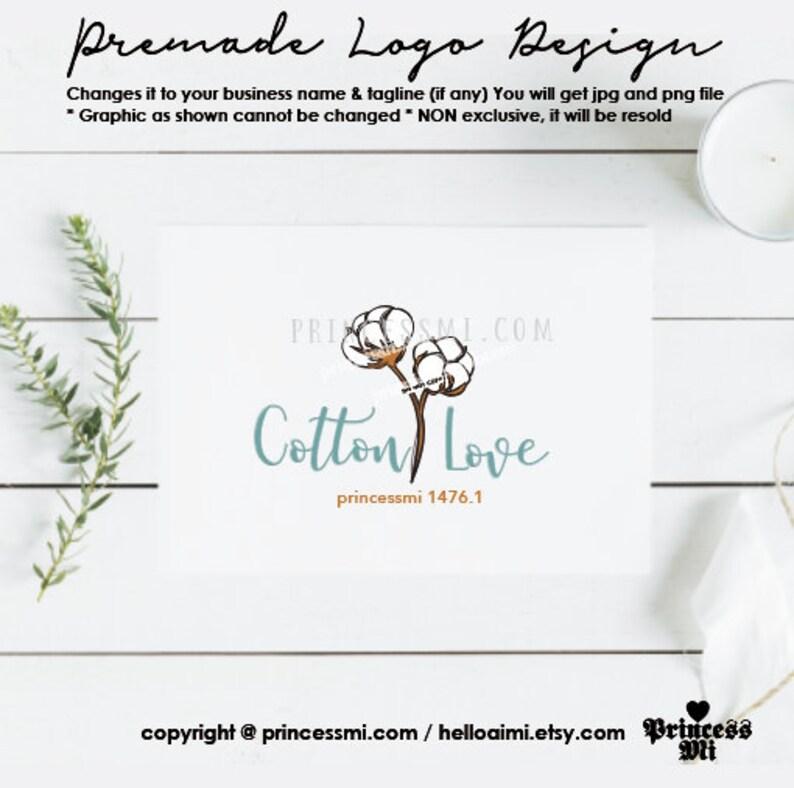 cotton flower logo design floral watermark logo template image 0
