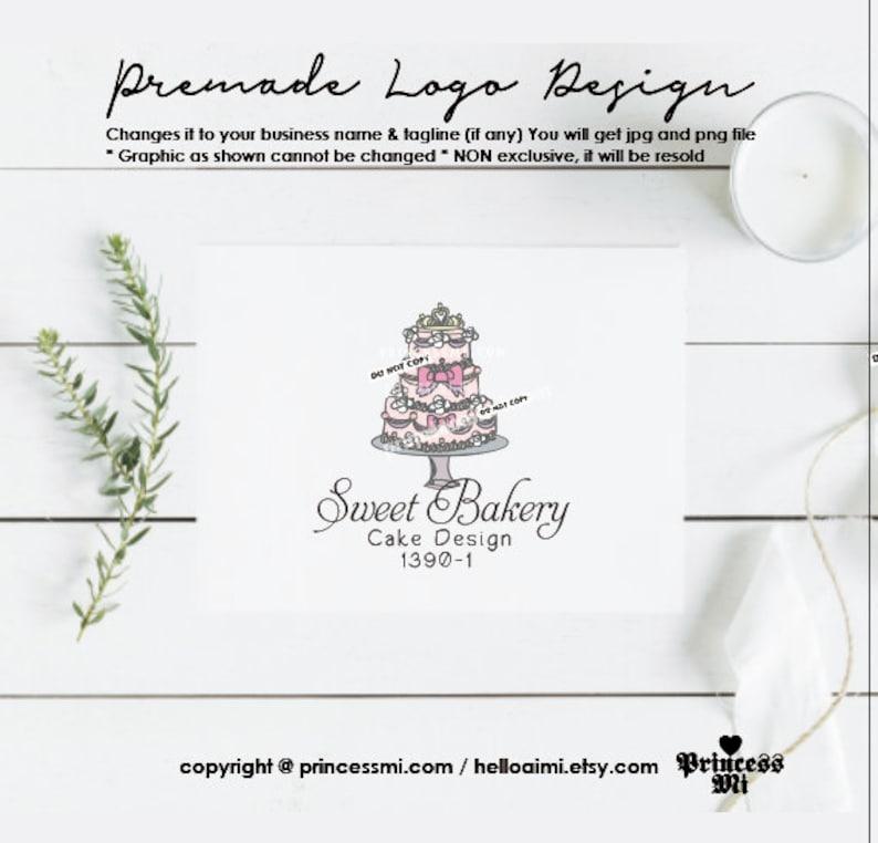 bakery logo design wedding cake logo 3 tiered cake logo image 0
