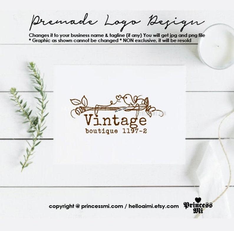 logo design vintage bird graphic business logo hand drawn logo image 0