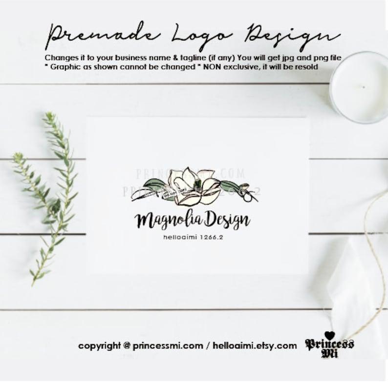 magnolia logo design floral flower graphic hand drawn logo image 0