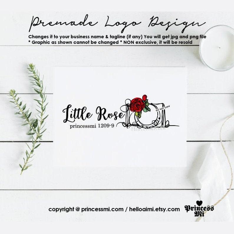 logo design floral rose photography camera for photographer image 0