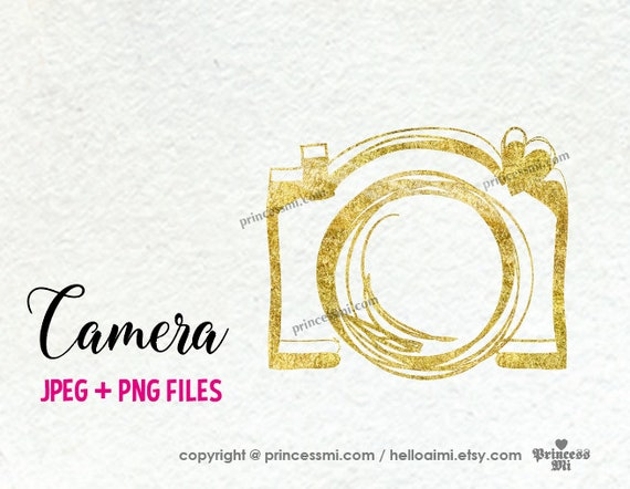 Gold Camera Clipart Elegant Glitter Camera Photography Photographer Camera Artwork Cute Creative Whimsical Png File By Princessmi