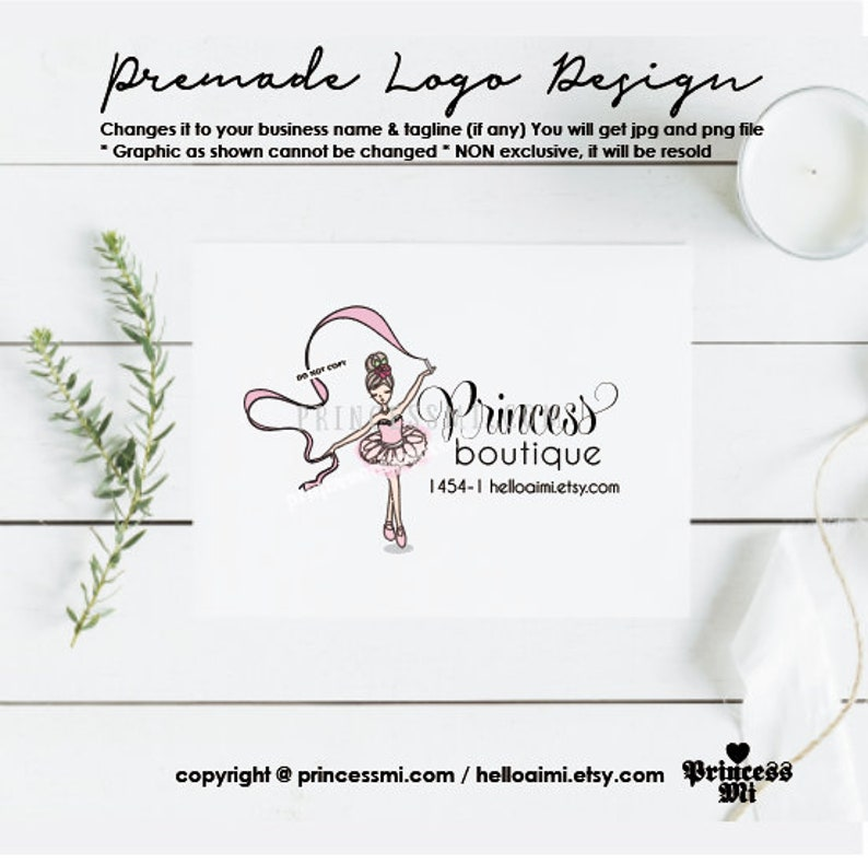 girl logo design ballerina logo tutu kids business logo ballet image 0