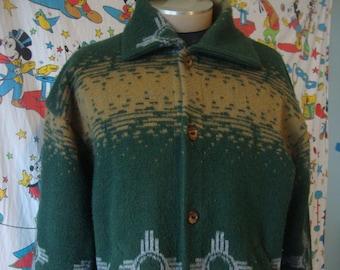 Vintage SUMAC DESIGNS southwestern New Mexico Santa Fe  indian  acrylic Blanket Sweater Jacket XL