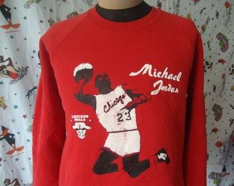 d549acbcd1f1c9 Vintage 90 s Michael Jordan Chicago Bulls Red Crew Neck Sweatshirt Size L  Large