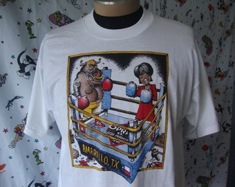 9e0b3a3b Vintage 90's Oprah Winfrey 1998 Vs Beef Producers Amarillo Texas Boxing  Caricature Cartoon What's The Beef T shirt XL