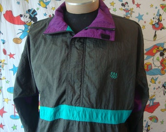 12bf381fe8d8 Vintage 90 s USA Olympics jcpenney black windbreaker track Jacket Men s Sz L
