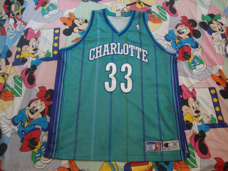 best authentic 3b89d aec73 Champion Authentic Alonzo Mourning Charlotte Hornets jersey sz 56 Vintage  NBA