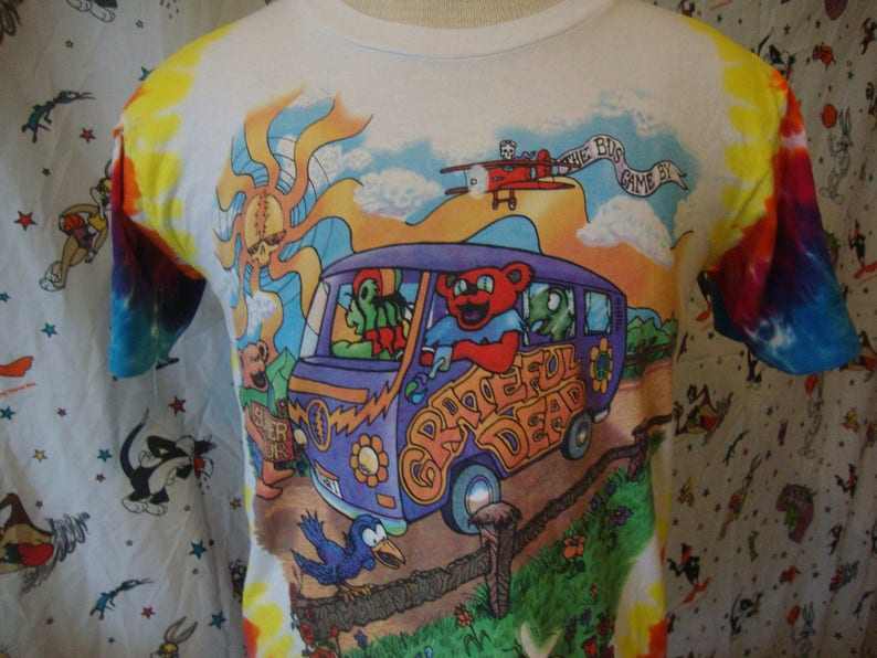Vintage The Grateful Dead Tie Dye Bus Small Summer 1994 Tour David Opie 2  Sided Deadhead Concert Tee Psychedelic Other One 90s T Shirt S