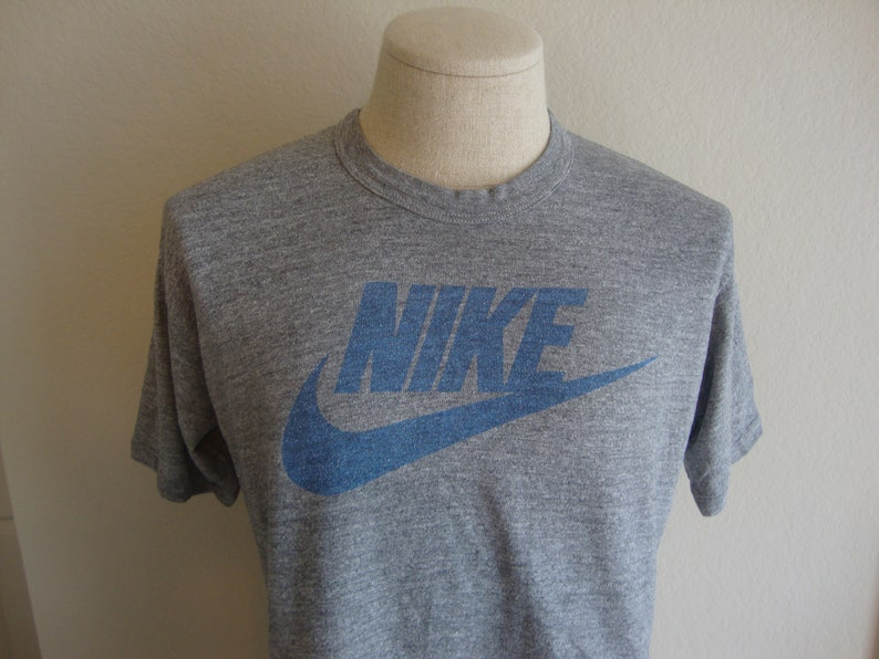 5ccdc17e Vintage 80's NIKE Orange Swoosh Tag Heather Gray Rayon Tri Blend Crop top  half Tee T shirt Size L Large