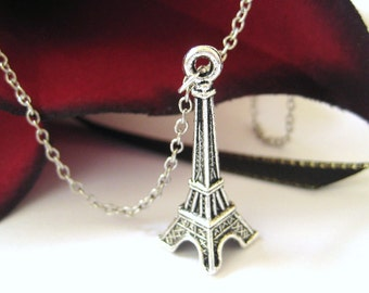 Silver Eiffel Tower Necklace - Charm Necklace Teenage Girl Jewelry