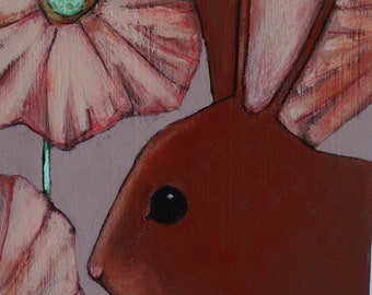 bunny rabbit in pink flowers painting original a2n2koon wall art on reclaimed wood whimsical bunny painting for girl's room lavender mint