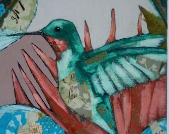 hummingbird flying in textured flowers painting original a2n2koon bird wall art on reclaimed wood with vintage paper, fabric garden artwork