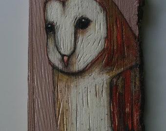 owl painting original a2n2koon barn owl bird wall art on reclaimed tree slab wood with tree bark textured rustic owl artwork rust & wisteria