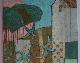 house on a hill collage painting flying birds trees plants original a2n2koon mixed media farmhouse field textural painting on reclaimed wood
