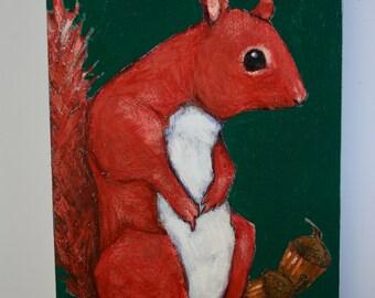 red squirrel & acorns painting original a2n2koon wall art reclaimed wood autumn red squirrel acorns dark green background textured artwork