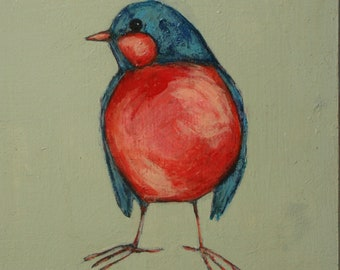 05e59b408ed7c fat little robin bird painting original a2n2koon wall art on reclaimed wood  whimsical robin blue bird small textured artwork red peach navy