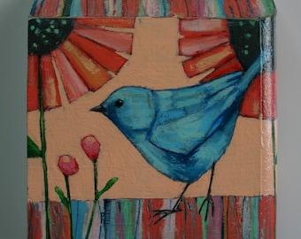 blue bird colorful garden plants flowers painting original a2n2koon textured wall art on reclaimed wood cute bird rainbow artwork for kids