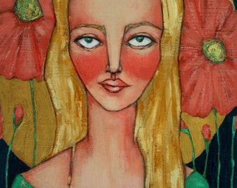 portrait of blonde woman female girl pink flowers gold halo original a2n2koon painting wall art on reclaimed wood summer goddess artwork art