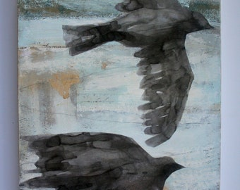 two flying birds in soft abstract sky original a2n2koon mixed media painting on reclaimed wood birds antique paper & fabric wall artwork