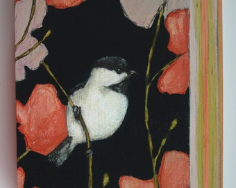chickadee bird on branch in flowers painting original a2n2koon wall art on unique shape reclaimed wood  black capped chickadee bird artwork