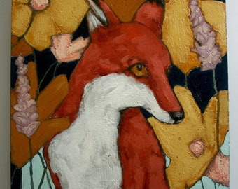 red fox in flowers portrait painting original a2n2koon wall art reclaimed wood profile of fox in flowers on blue background textured artwork