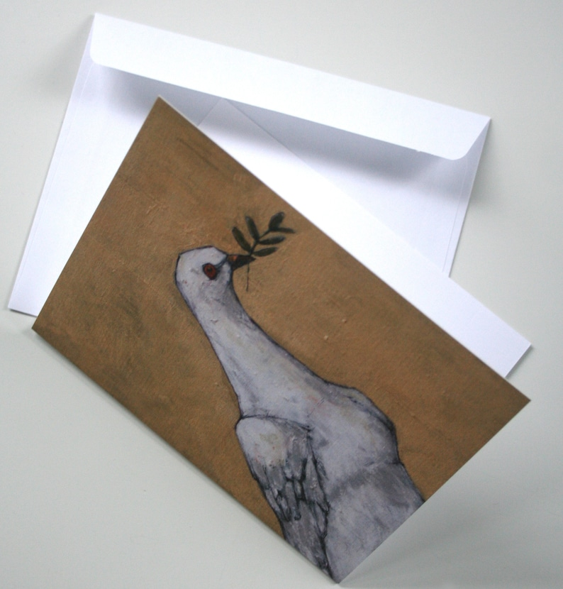 peace /& hope note card set holiday stationery set of 9 note cards and white envelopes gold flora dove hostess teacher gift limited edition