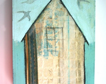 beach house with flying birds original a2n2koon textured painting on reclaimed wood antique paper fabric collage white house shades of blue