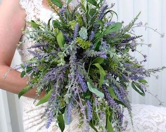 Wildflower Wedding Bouquet, Cascade Lavender lilac bridal bouquet, Eucalyptus wildflower bouquet, Country wedding, Rustic Wedding Bouquet