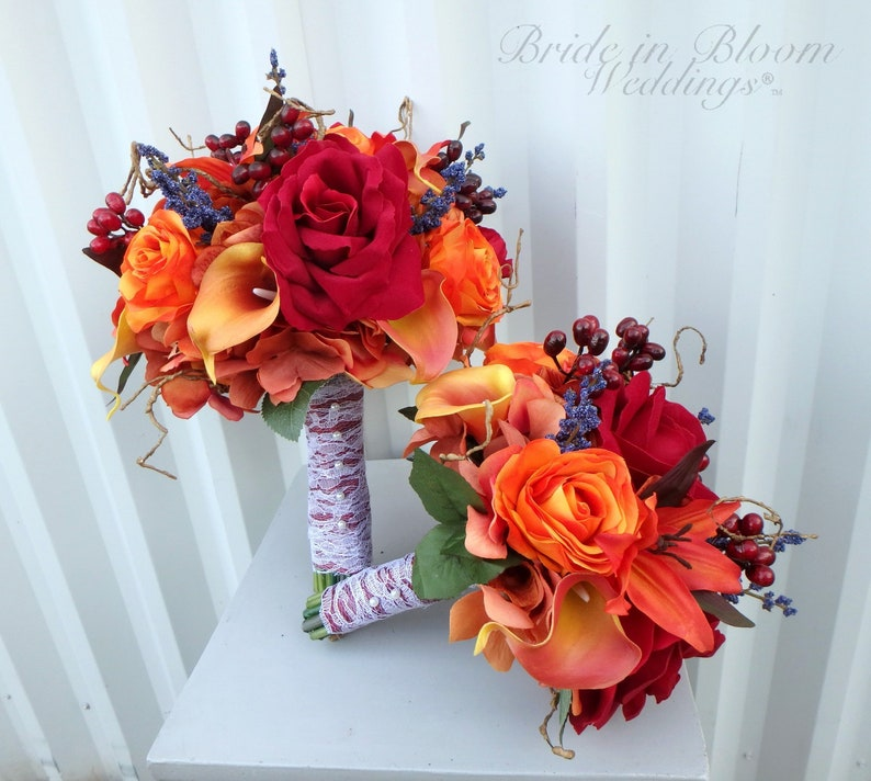 Fall Wedding Bouquets.Autumn Wedding Flowers Fall Wedding Bouquet Set Bride Bouquet Bridesmaid Bouquets Boutonnieres