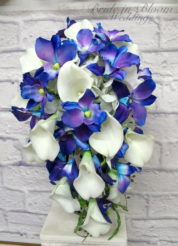 Blue orchid cascade Bouquet Wedding bouquet brides bouquet | Etsy