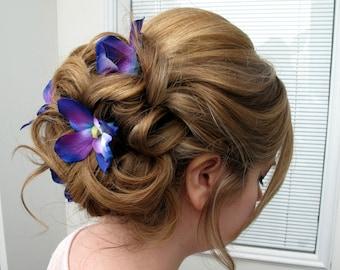 Blue orchid hair pins - Wedding hair accessories set of 4 hair flowers