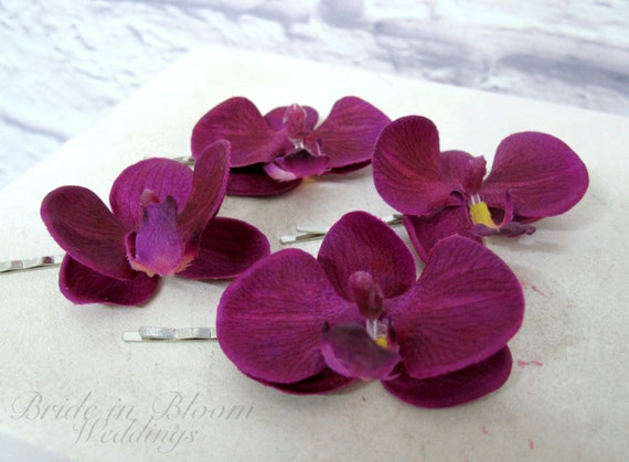 1a2738d2e7d Real touch orchid bobby pins - Wedding hair accessories Purple white  orchids Set of 4 Bridal hair accessory