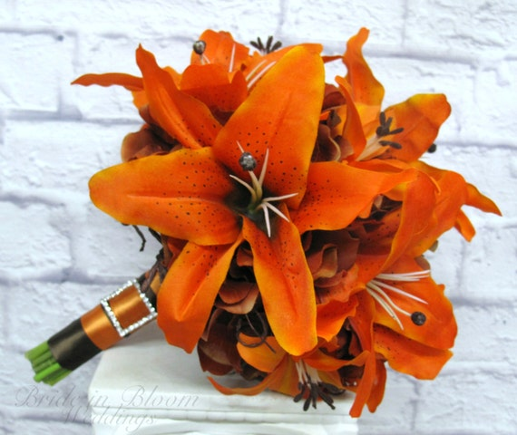 Tiger lily Wedding Bouquet silk bridal bouquet orange brown