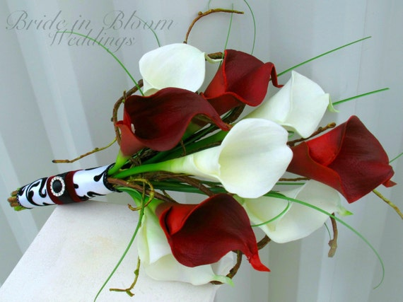 Wedding Bouquet Real Touch Red White And Black Calla Lily Etsy