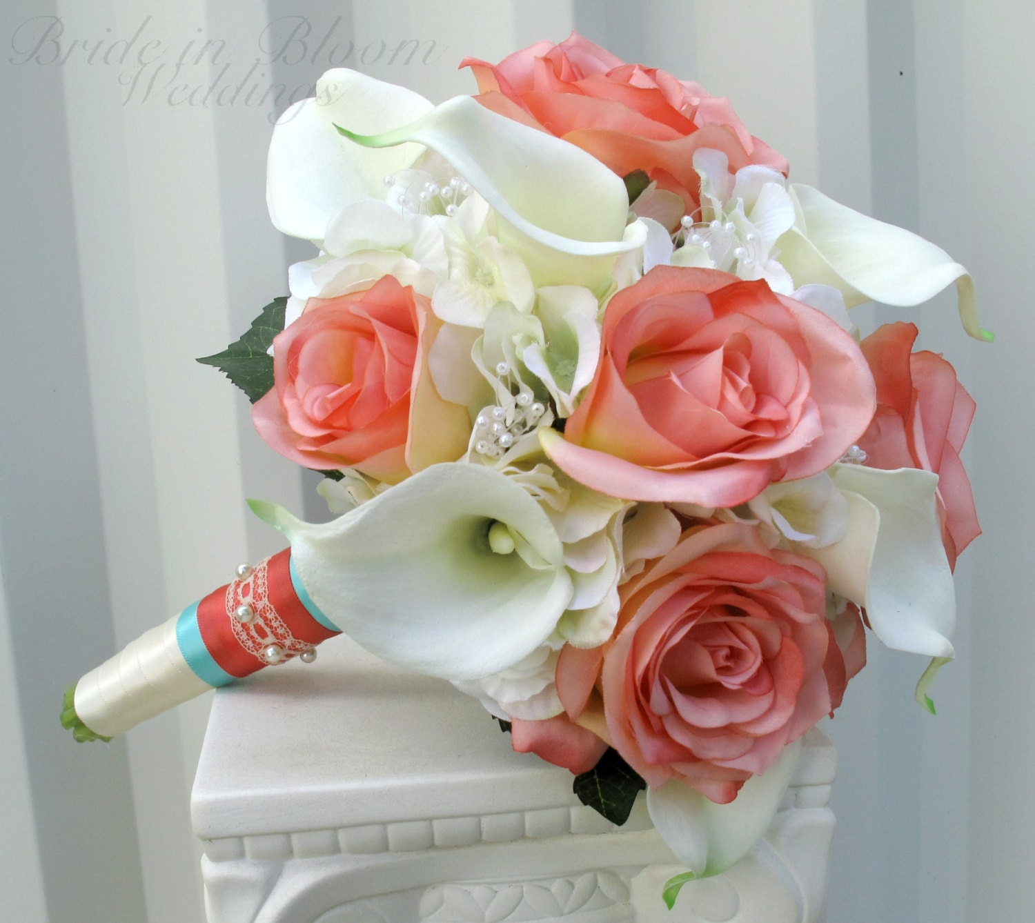 Wedding Bouquet Coral Cream Real Touch Calla Lily Silk