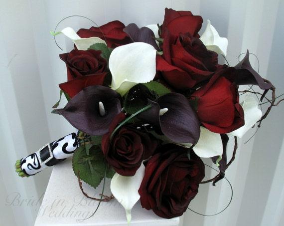 Black Baccara Rose Wedding Bouquet White Plum Black Calla Etsy
