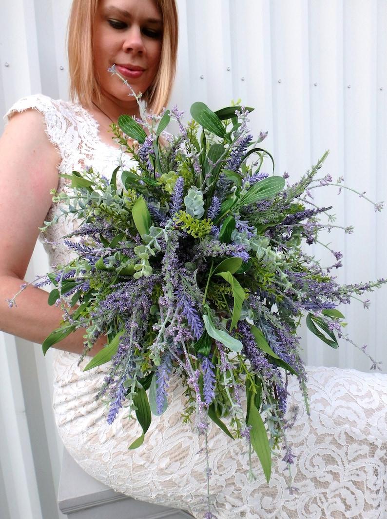 Wildflower Wedding Bouquet Cascade Lavender lilac bridal image 0