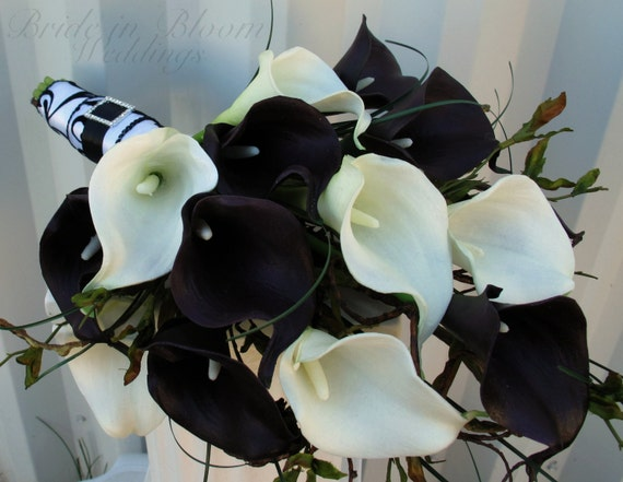Wedding Bouquet Real touch plum black white calla lily Bridal | Etsy