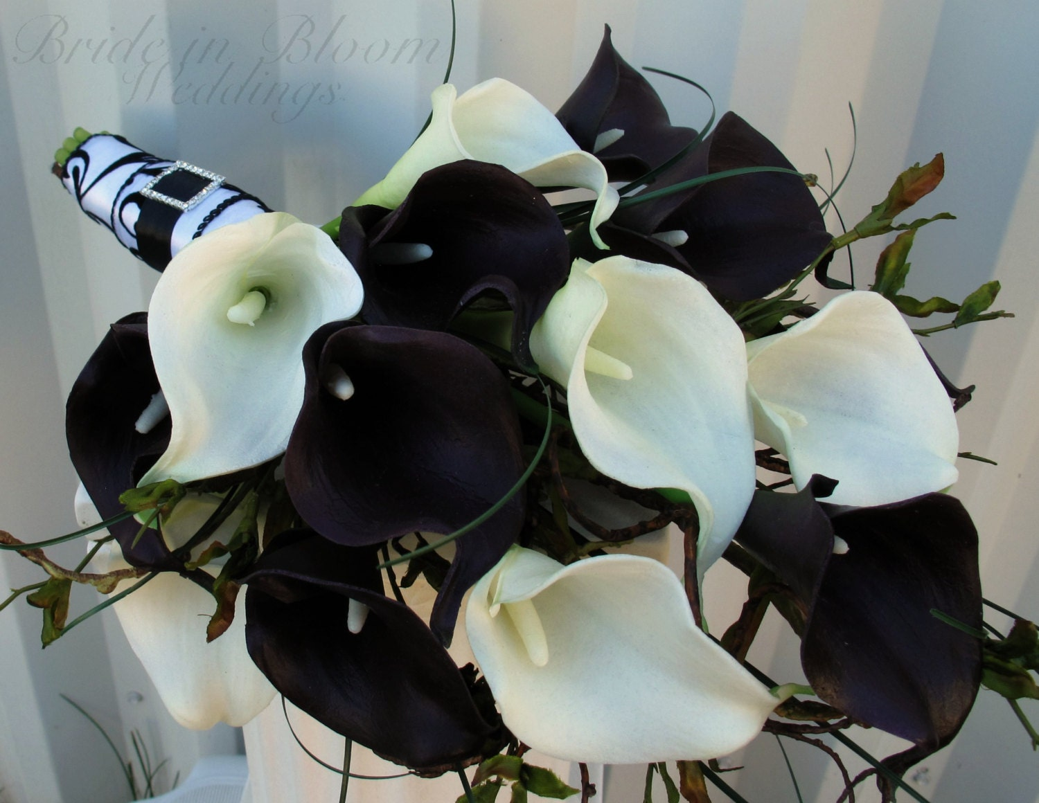 Wedding bouquet real touch plum black white calla lily bridal etsy izmirmasajfo