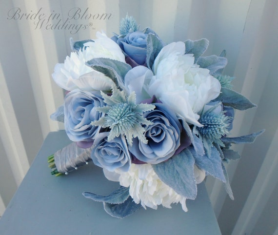 Bouquet Sposa Rose Blu.Bouquet Bouquet Da Sposa Rosa Blu Argento Dusty Blu Argento Rosa Damigella Bouquet Da Sposa