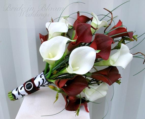 Hochzeit Bouquet Rot Weisse Calla Lilie Brautstrauss Etsy