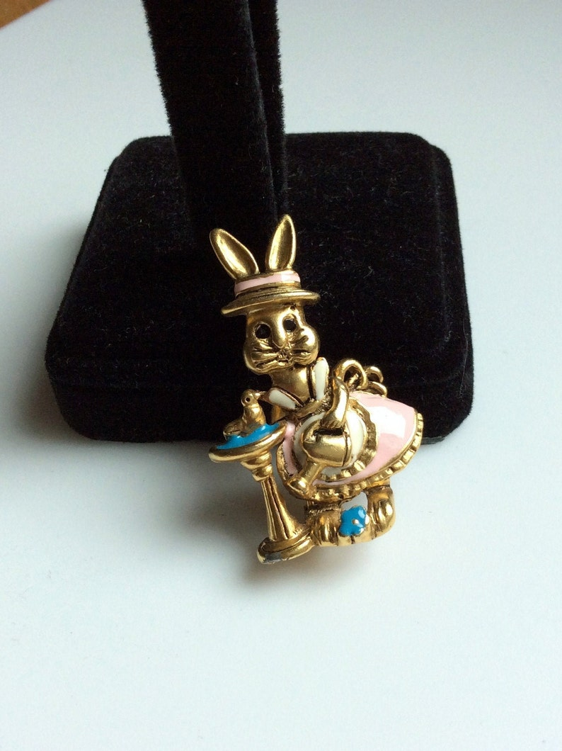 Mrs Easter Garden Spring Rabbit Enamel Brooch Spring Sale Danecraft