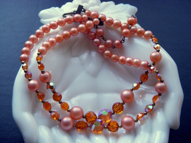 Anniversary Sale Peach Double Strand Glass Aspirin Bead Necklace